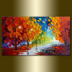 Rainy Night 15X30 by Willson Lau. $155.00; Love the colors on this one!