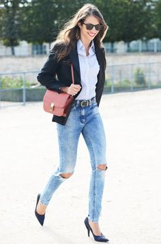 Fashion World: Black jacket,belt,heels shoes,blue shirt and blue jeans