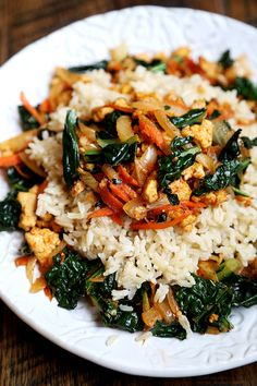 Rice Bowl with sauted Onions, Carrots, Kale and Tofu Crumbs