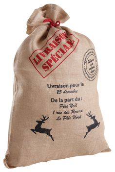 Sac de noël pour cadeaux en jute 50x78cm Christmas Bags, Christmas Time, Christmas Sewing Projects, Jute Bags, Seasonal Decor, Creations, Reusable Tote Bags, Merry, Gaspard