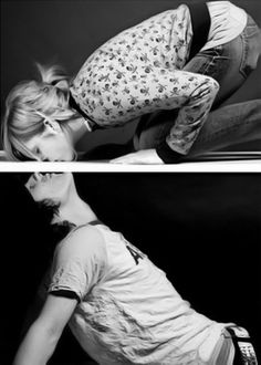 Adorable photo idea for a couple: two seperate photos put side by side to interact.
