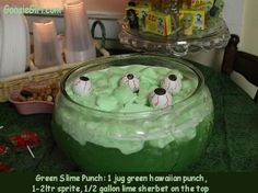 Fear Factor Party-1 jug hawaiian punch (green) 2 ltr sprite, lime sherbet, ping pong ball eyeballs!