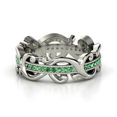 Absolutely stunning!!! 14K White Gold Ring with Emerald ~ Atlantis Eternity Band ~ Gemvara