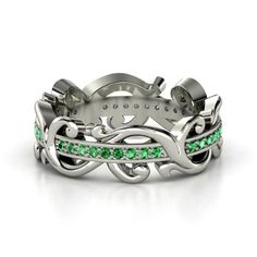 Sterling Silver Ring with Emerald | Atlantis Eternity Band | Gemvara