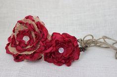 Red Rustic Wedding Headpiece,  Burlap Wedding Flower Halo, Shabby Chic Wedding Headpiece, Vintage Wedding Headpiece. $45.00, via Etsy.
