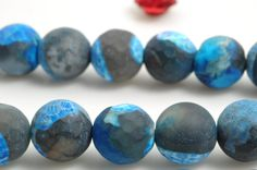 47 pcs of Dyed Rainbow Agate matte round beads in 8mm