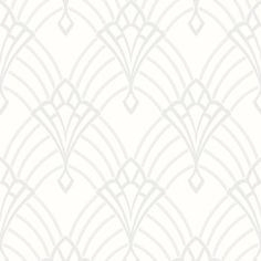 This Astoria Deco Wallpaper features a silver geometric art deco inspired design with mica and glitter elements on a matte white background.