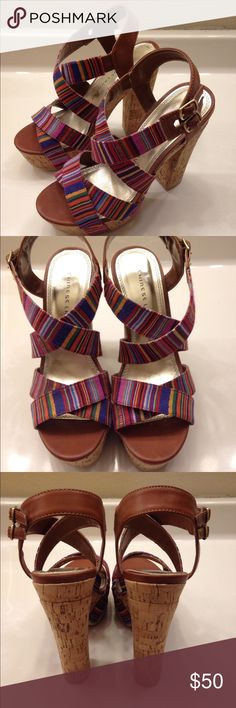 Chinese Laundry size 7.5 Barely worn, excellent condition, cork heel, multicolor pattern. Chinese Laundry Shoes Heels