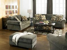 Living Room- Ashley- kirkwood charcoal-3350138. Warm earth toned fabric and plush cushioned seats and backs, and relaxed contemporary design of the kirkwood-charcoal upholstery collection creates the perfect addition to the decor of your living area.