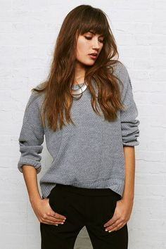 AEO Don't Ask Why Hi-Low Sweater, Women's, Grey