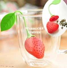 Strawberry Design Loose Tea Leaf Strainer Herbal Spice Infuser Filter -- See this great product.