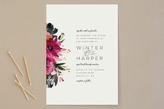 """Peeking Florals"" - Floral & Botanical, Traditional Wedding Invitations in Fuchsia by Lori Wemple."
