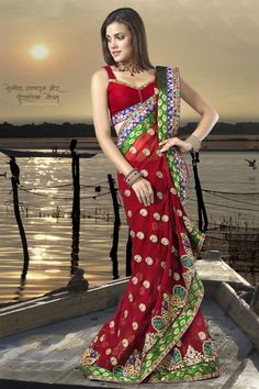 Red bollywood style saree in georgette with unique look