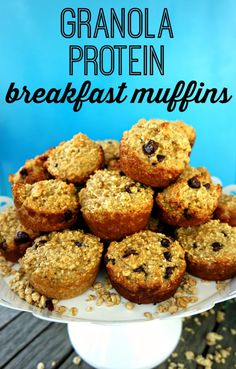 These granola protein breakfast muffins are simple, healthy and delicious! Grab them for an on-the-go breakfast option or eat them as a post-workout snack. Add in the Greek Yogurt Glaze, and they make a fun treat for your kids too! These protein-filled breakfast muffins are flour-free, freeze easily and are so easy to make - they'll quickly become a family favorite!