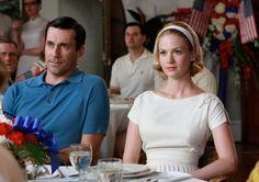 Betty looks elegant in her tennis- inspired white dress. Episode 206