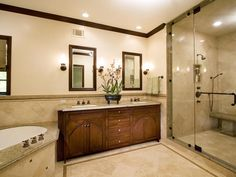 master bath. i LOVE those sinks. and the shower. and the tub...i love this bathroom. @Lisa Wesley. This could fit in your house!