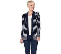 Susan Graver Striped Cotton Acrylic Cardigan Sweater