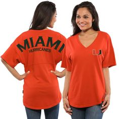 Miami Hurricanes Women's Spirit Jersey Oversized T-Shirt - Orange