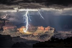 Lightning strike at night in the Grand Canyon