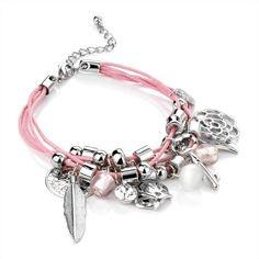 Cord Charm Bracelet Pink & Silver