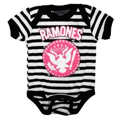 Psychobaby - Sourpuss Ramones Striped Pinned One-Piece, $28.00 (http://www.psychobabyonline.com/sourpuss-ramones-striped-pinned-one-piece/)