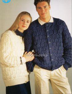 "FAMILY ARAN KNITTING PATTERN-/'Teddy Brand/' Round Neck Aran Knitting  24/"" 46/"""