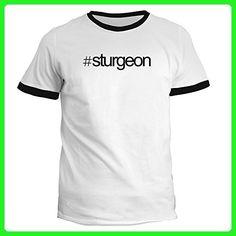 Idakoos - Hashtag Sturgeon - Animals - Ringer T-Shirt - Animal shirts (*Amazon Partner-Link)