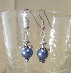 Blue Daisy Dangle Earrings by Pizzelwaddels on Etsy, $6.97