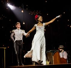 Lucas Steele as Anatole and Denée Benton as Natasha in the Broadway production of Natasha, Pierre & The Great Comet of 1812.