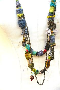 African Necklace, Boho Necklace, Multi Strand Necklace, Fabric Necklace, Textile Necklace, Eco Friendly Necklace, Recycled Necklace OOAK