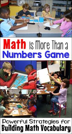Math is more than a numbers game; vocabulary knowledge is every bit as important as math computation skill. Fortunately, there are loads of fun vocabulary-building activities and games that will boost math achievement! Vocabulary Instruction, Vocabulary Activities, Math Resources, Vocabulary Building, Math Enrichment, Math Literacy, School Resources, Kindergarten Math, Math Terminology