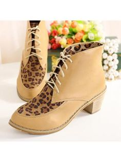 Lace Up Design Patchwork Chunky Apricot & Leopard Ankle Boots