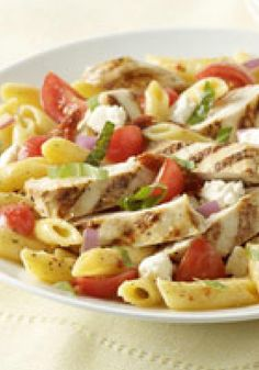 Bistro Chicken-Pasta Salad -- Full of Mediterranean flavors from feta, fresh tomatoes and basil, this healthy living recipe rivals the grilled chicken pasta salad at your favorite restaurant.