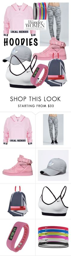 """Wonder Women - Local Heroes Hoodies"" by mdfletch ❤ liked on Polyvore featuring Local Heroes, Moschino, StellaSport, NIKE, Supersonic and WonderWomen"