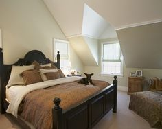 Attic bedroom idea house inspiration pinterest attic - Slanted ceiling paint ideas ...