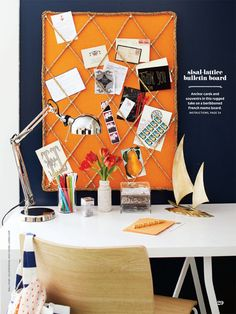 For the office: love the navy walls w/orange accent (bulletin board) + white desk