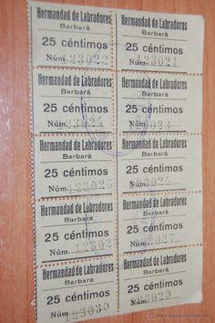 10 CUPONES O VALES HERMANDAD LABRADORES BARBARA 25 CÉNTIMOS SELLO REPÚBLICA