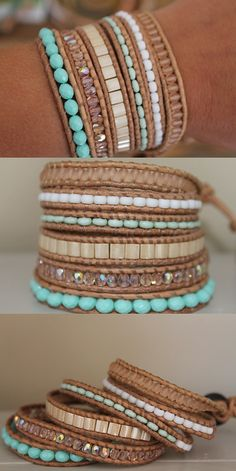 Hey, I found this really awesome Etsy listing at https://www.etsy.com/listing/237825308/6-layer-leather-wrap-bracelet-pastel