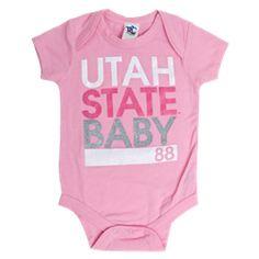 Utah State Baby Onesie Pink #raisinglittleaggies