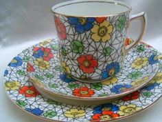 Grimwades Atlas China Chintz Art Deco tea trio Cup saucer & plate