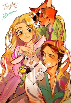 Zootopia and Tangled crossover - Rapunzel, Judy, Nick, and Flynn Walt Disney, Disney Tangled, Cute Disney, Disney Magic, Disney Family, Zootopia, Disney Animation, Animation Film, Disney And Dreamworks