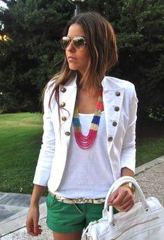 Necklace, sunglasses, belt and bag