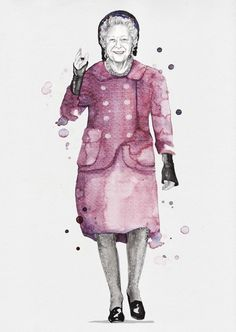 Queen Elizabeth V in Chanel Couture- Esra Røise Fashion illustration