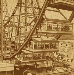 This ferris wheel (from 1893), has to be just about the most awesome ones I've ever seen. I love the large seating areas in the glassed in enclosures, and would have lined up for hours to have ridden this fantastic carnival ride. #fair #carnival #ferris_wheel #Victorian #1800s