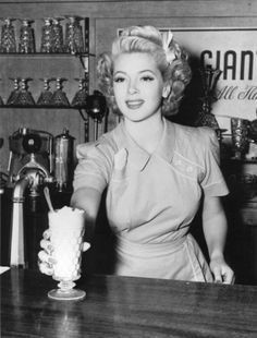 Lana Turner at a soda shop #curls #vintage