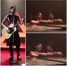 Lovely! Tomo and Shannon fangirling during the acoustic set while Jared was singing.