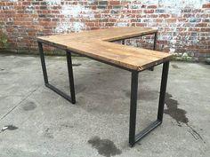 Industrial style reclaimed L-DESK - Steel and Wood -Vintage Steampunk Rustic