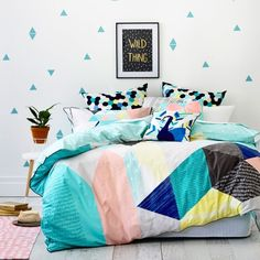 Ruckus Coco Quilt Cover Set Mint, quilt covers for teens, teenage quilt covers Dream Bedroom, Home Bedroom, Girls Bedroom, Bedroom Decor, Bedroom Ideas, Bedrooms, Preppy Dorm Room, Chic Dorm, Bad Am Meer