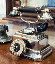 Old telephone from Juha Angervo's collections. A & D Photo Katri Lehtola. Telephone, Landline Phone, Perfume Bottles, Collections, Design, Phone, Perfume Bottle
