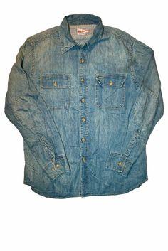 Vintage Gap Denim Button Up Shirt with Elbow Patches Mens Size Large $30.00